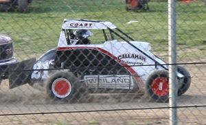 Motorsport in Illinois - An Illinois Racing Series (IRS) midget car getting a push start