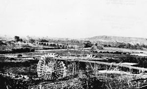 Zanja Madre - A water wheel on the Los Angeles River at start of Zanja Madre, 1863