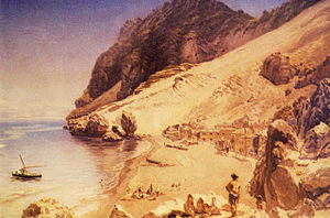 Catalan Bay - Nineteenth-century painting of Catalan Bay looking south by Thomas Colman Dibdin