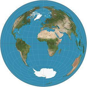 Lambert azimuthal equal-area projection - Lambert azimuthal equal-area projection of the world. The center is 0° N 0° E. The antipode is 0° N 180° E, near Kiribati in the Pacific Ocean. That point is represented by the entire circular boundary of the map, and the ocean around that point appears along the entire boundary.