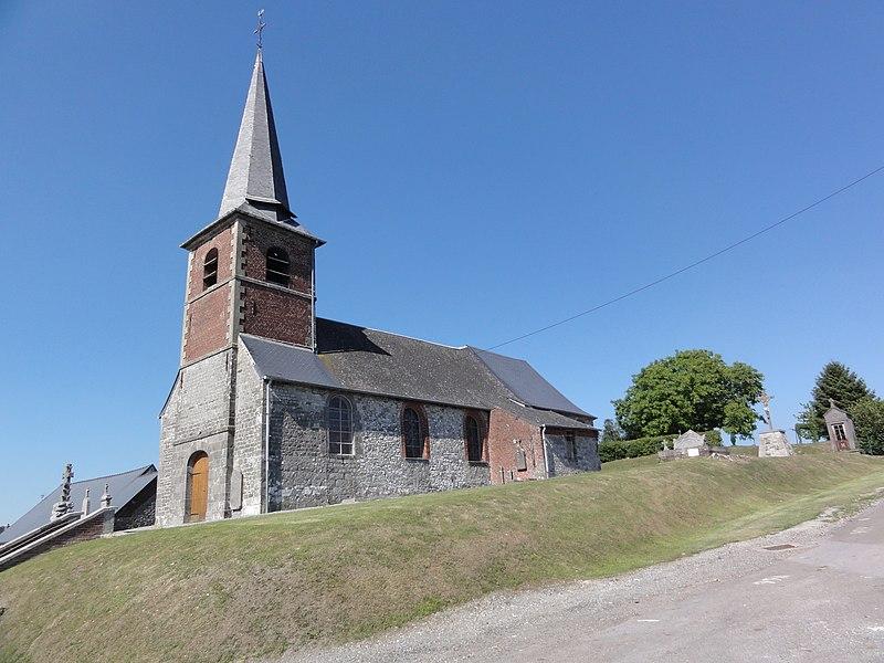 Larrouillies (Nord, Fr) église, vue latérale