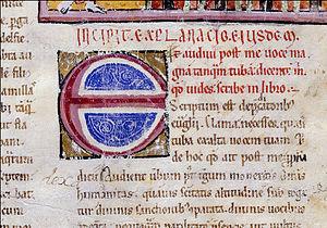 Morgan Beatus - Lettering Detail from Folio 22 describing Rev. 1:12–20.
