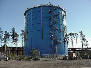 Gas holder structure (container) in which e.g. natural gas or town gas is stored