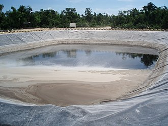 Leachate - A leachate evaporation pond in a landfill site located in Cancún, Mexico