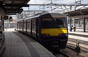 British Rail Class 322 - Northern Rail class 322 EMU 322482 departs Leeds with a service to Doncaster.