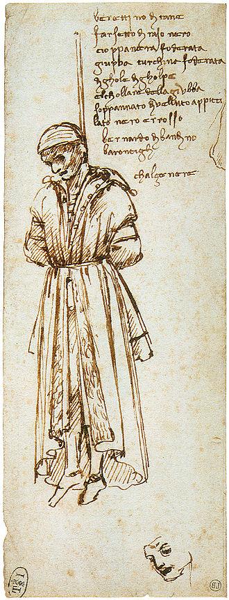 Pazzi conspiracy - 1479 drawing by Leonardo da Vinci of hanged Pazzi conspirator Bernardo Bandini dei Baroncelli