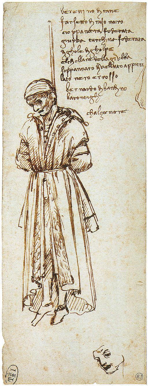 Leonardo da Vinci, drawing of a hanged  Pazzi conspirator Bernardo di Bandino Baroncelli, 1479