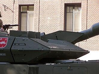 Leopard 2E - Close-up of the Leopard 2Es turret armor
