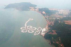 Port Dickson (town) - A bird's eye view of one of the prominent capes in the area, housing a private hotel establishment