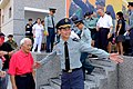 Lieutenant General Chuan Tzu-jui, Commander of ROCA Hualien & Taitung Defence Command Guide Veteran Chu Yuan-Chin to Ground for Photograph 20150704.jpg