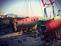 Lifting existing bulbous bow (8293007483).jpg