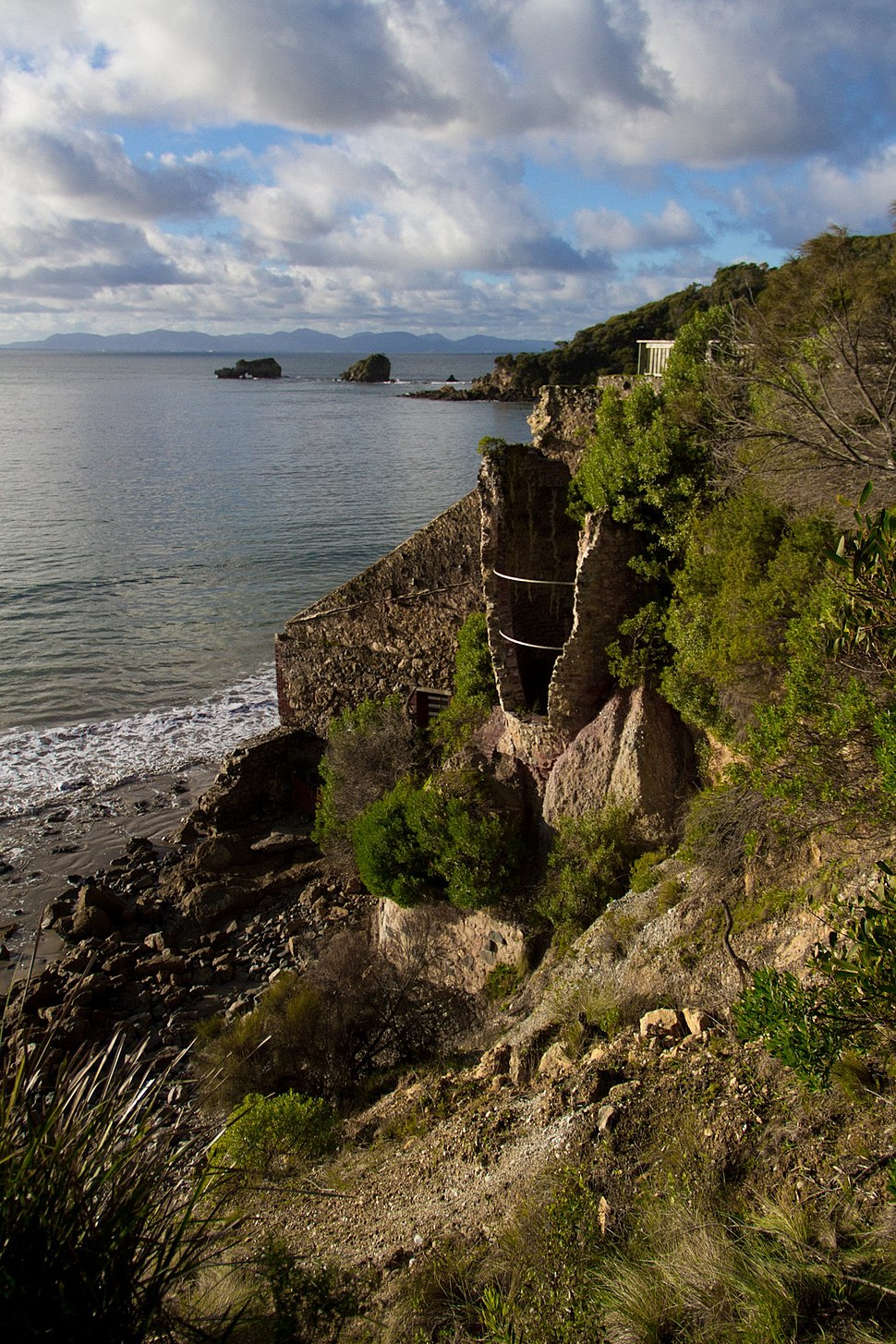 Limestone kiln ruins viewed from Limeburners track at Walkerville, Victoria, Australia