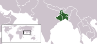 The native geographic extent of Bengali