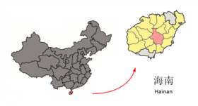 Location of Qiongzhong within Hainan (China).png