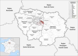 Arrondissement of Nogent-sur-Marne - Image: Locator map of Arrondissement Nogent sur Marne