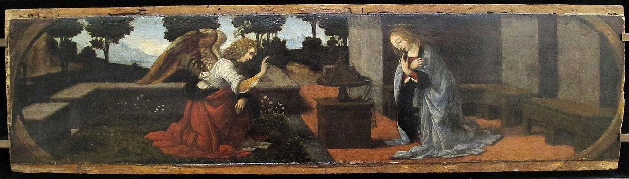 Lorenzo di credi o leonardo da vinci, annunciazione dal duomo di pistoia, 1475-78 ca. 01.JPG