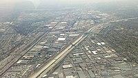 LA River near downtown LA during drought in 2014
