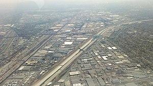 Los Angeles River - LA River near downtown LA during drought in 2014