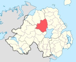 Location of Loughinsholin, County Londonderry, Northern Ireland.