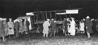 1910 London to Manchester air race - Paulhan's aeroplane at Lichfield, on Wednesday morning, 27 April