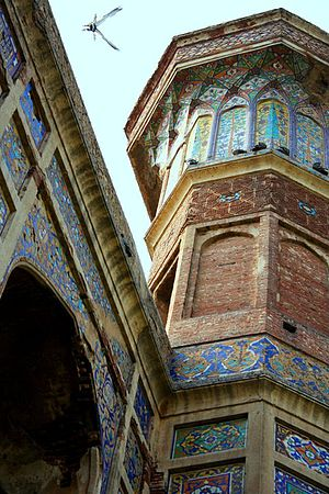Chauburji - Chauburji's exterior still has some intricate kashi-kari, or Persian-style tile work.