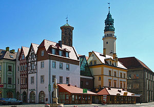 Lubań - Market square and town hall