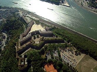 Rhine Gorge - Image: Luftbild Festung Ehrenbreitstein Koblenz