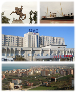 Top left: Statue of Kemal Atatürk in Belediye Park, top right: View of SS Bandırma museum ship, center: Ondokuz Mayıs University, bottom: View of Samsun and Black Sea from Balipaşa area.