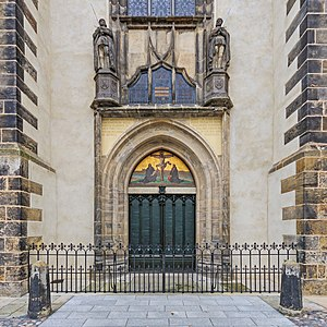 History of Lutheranism - Door of the Schlosskirche (castle church) in Wittenberg to which Luther is said to have nailed his 95 Theses, sparking the Reformation