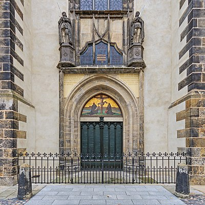 Door of the Schlosskirche (castle church) in Wittenberg to which Luther is said to have nailed his 95 Theses, sparking the Reformation. Lutherstadt Wittenberg 09-2016 photo06.jpg