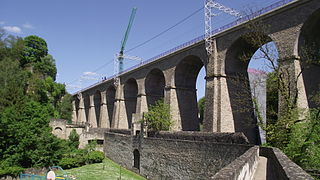 two-track railway viaduct in Pulvermuhl, eastern Luxembourg City