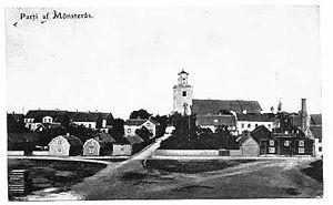 Mönsterås - Postcard from around 1905 depicting the centre of Mönsterås