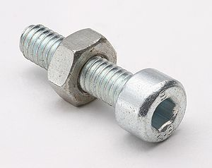 Nut (hardware) - A nut threaded onto an Allen key socket head screw
