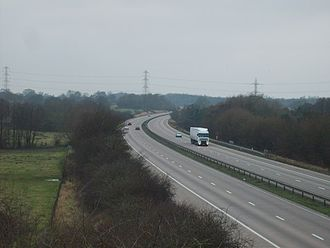 M54 motorway - The view from Staffordshire Way, which passes over the M54 near Codsall.