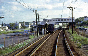 Suffolk Downs (MBTA station) - An outbound train at Suffolk Downs in 1967