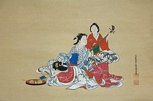 Nishikawa Sukenobu - Hanging scroll by Nishikawa Sukenobu, ca. 1700s.