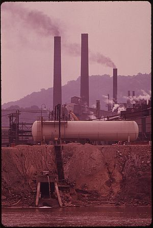MONSANTO CHEMICAL COMPANY SMOKESTACKS SEEN FRO...