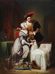 Keizer Karel en zijn minnares Johanna van der Gheynst bij de wieg van hun dochter Margaretha