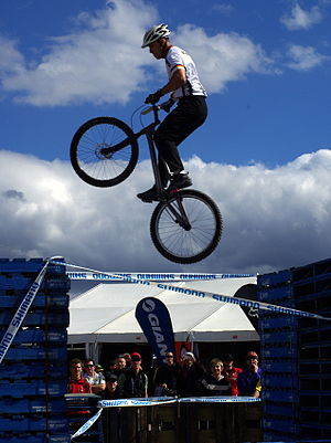 Mountain bike racing - Trials events feature large jumps between artificial obstacles.