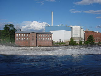 Madison, Maine - Looking across the Kennebec River at the Madison Paper Mill, Summer Solstice 2008