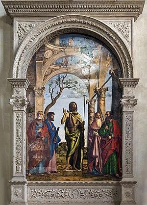 John the Baptist among the saints Peter, Mark, Jerome and Paul