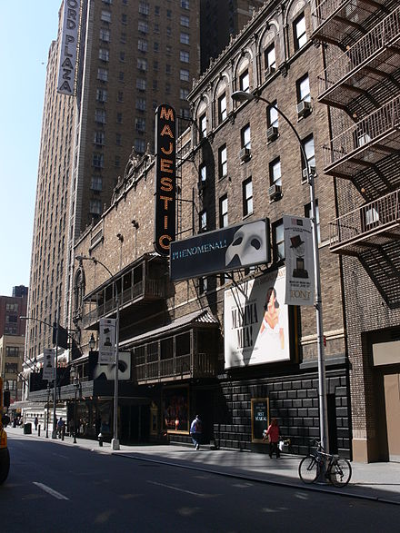 Lansbury first appeared in musical theatre in 1964 at the Majestic Theatre on Broadway (pictured in 2007). Majestic Theatre NYC 2007.jpg