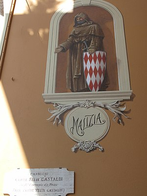 "François Grimaldi - Fresco with François Grimaldi, nickname ""Malizia"", on a wall of the rue Comte Félix Castaldi in Monaco"