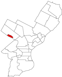 Map of Philadelphia County, Pennsylvania highlighting Manayunk Borough prior to the Act of Consolidation, 1854