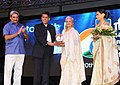 Manish Tewari presents the first Centenary Award to actress Waheeda Rehman, at the inaugural ceremony of the 44th International Film Festival of India (IFFI-2013), in Panaji, Goa. The Chief Minister of Goa.jpg