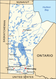A Map Of Manitoba With The Location Of The Major Cities