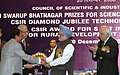 Manmohan Singh giving away the Shanti Swarup Bhatnagar Prize for Science and Technology 2007 to Dr. Narayanaswamy Srinivasan of Bangalore for his outstanding contribution in Biological Science, in New Delhi.jpg