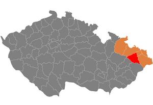 Vị trí huyện Nový Jičín trong vùng Moravia–Silesia trong Cộng hòa Séc