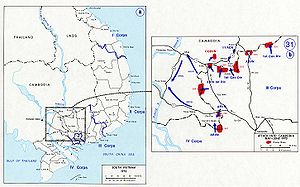 Parrot's Beak, Cambodia - Map of the Cambodian Incursion, showing the Parrot's Beak to the lower left.