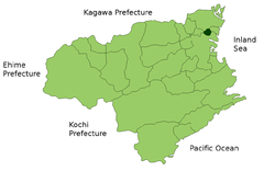 Location of Kitajima in Tokushima